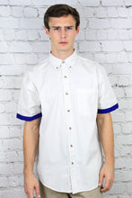 Load image into Gallery viewer, White Short Sleeve Teflon Dress Shirt with Kitenge cuffs from Ceiphers Clothing (front view)
