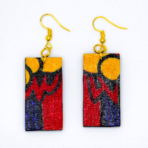 Throwback Rectangle Earrings from Ceiphers Clothing (Close-Up)