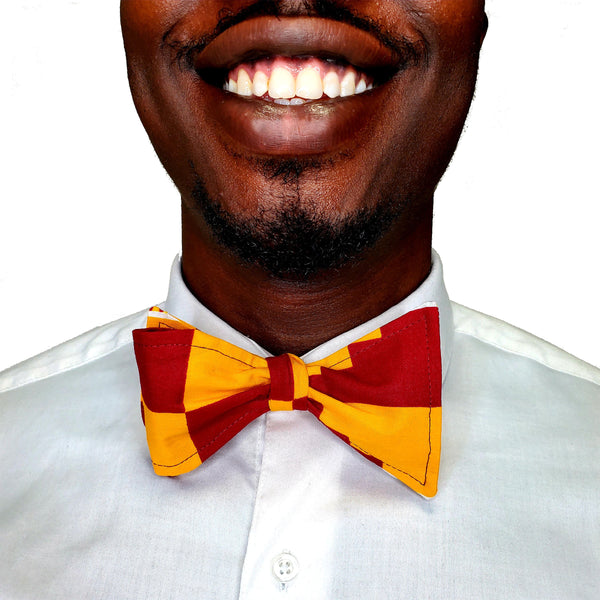 Kente Clothe Red & Gold Self Tie Bow Tie
