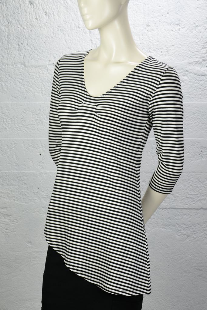 Adrienne Top - Black White Stripe