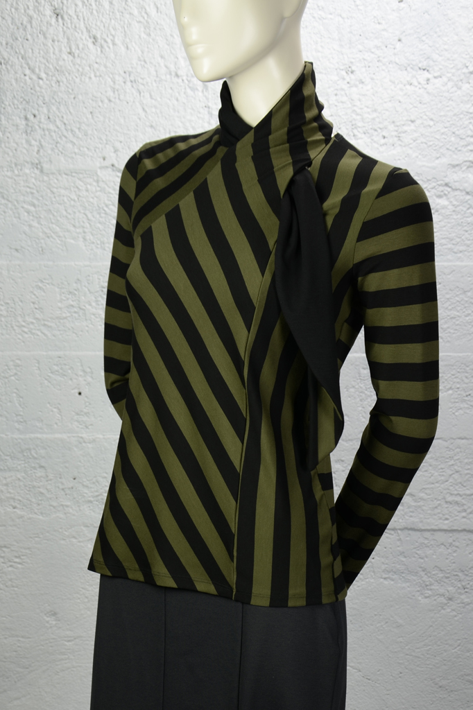 Dagny Top - Olive Stripe