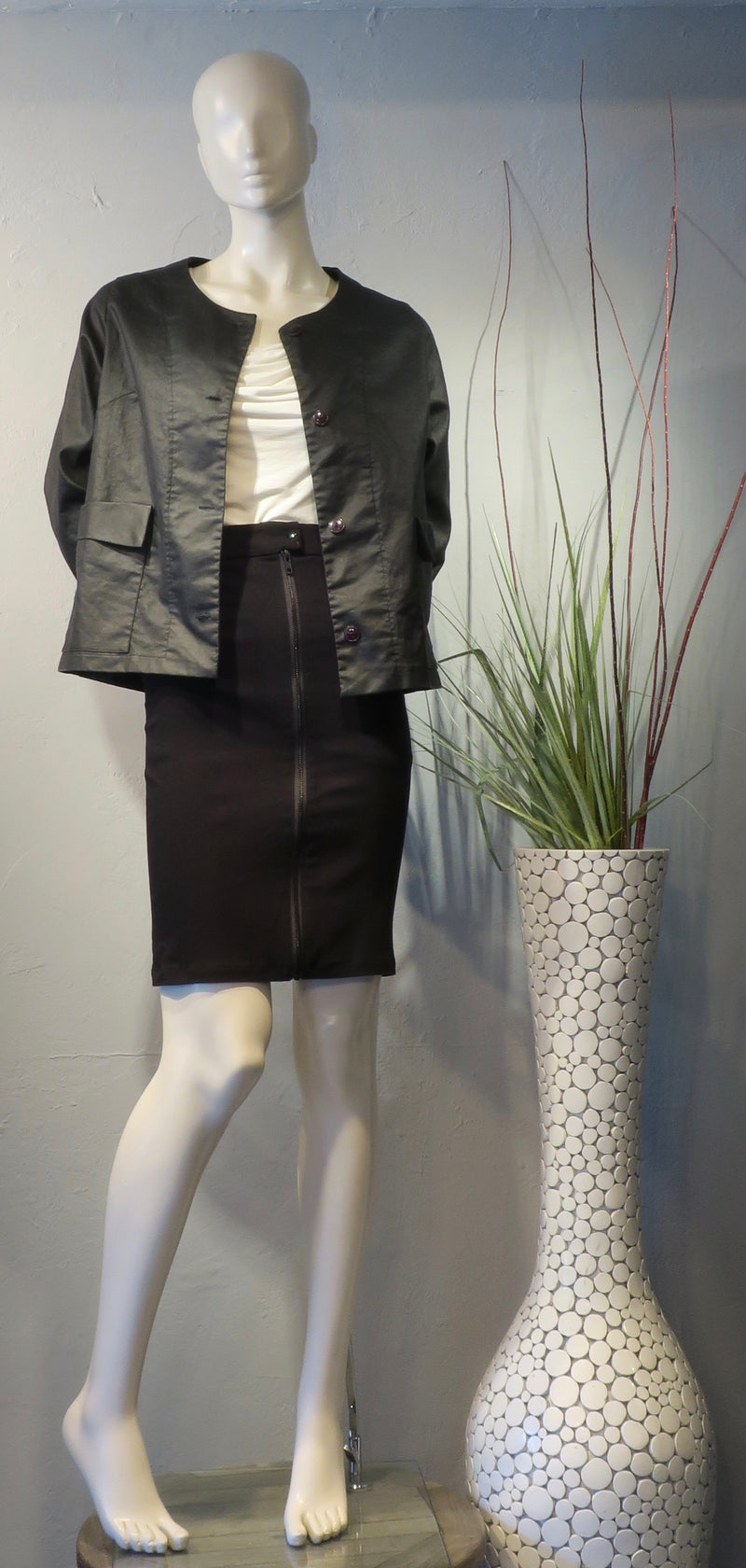 Waxed Cotton Cropped Jacket