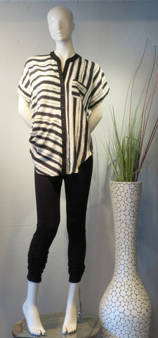 Side Drape Blouse Stripe