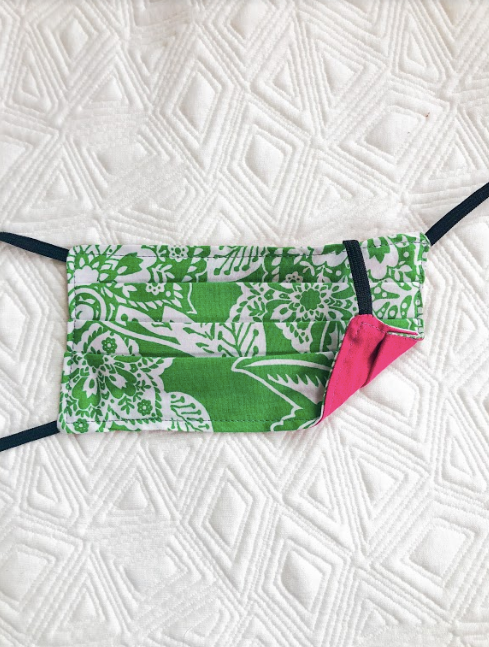 Reusable Mask - KIDS: Green Bandana Print/Pink  (1 -Mask)