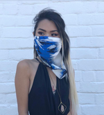 Silk Scarf Reusable Mask - Blue Watercolor (1 Mask)