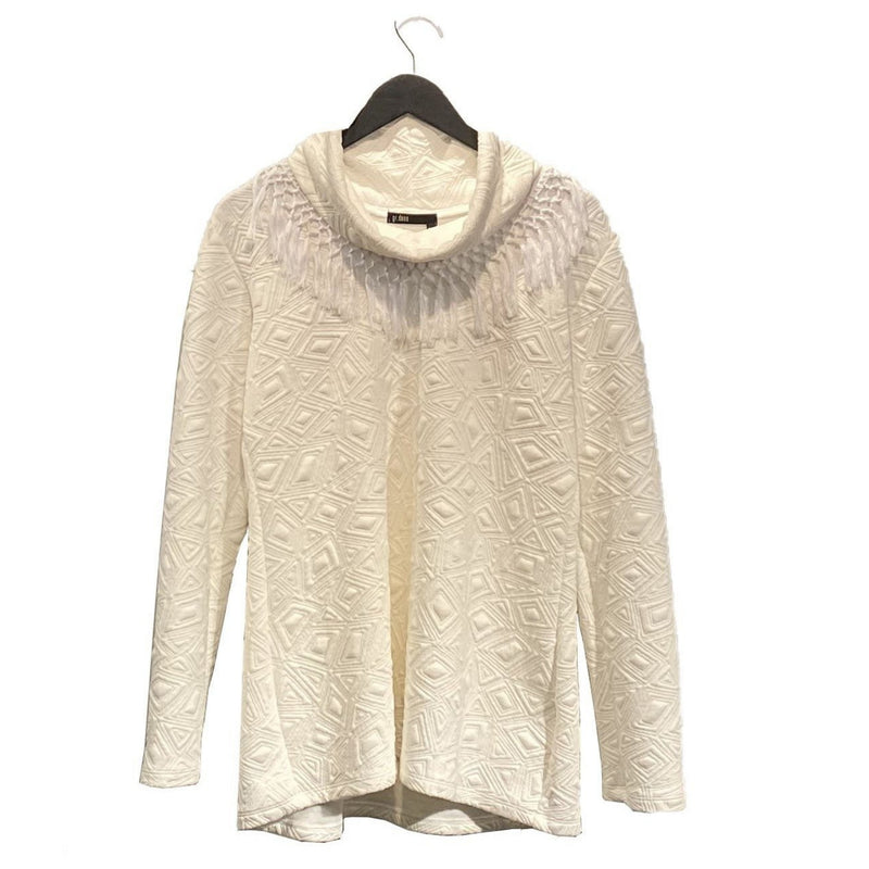 Textured Fringe Top  - Bone