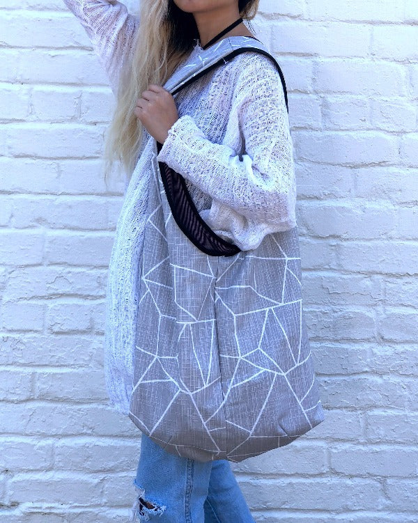 Shoulder Bag - Grey Lines with Matching Mask