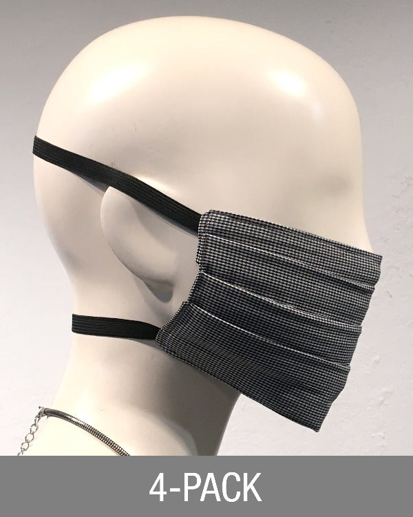Reusable Mask - Black & Grey Mini Check (4-Pack)