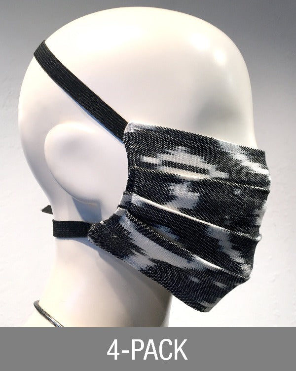 Reusable Mask - Grey IKAT (4-Pack)