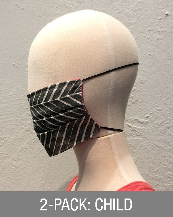 Reusable Mask - KIDS: Grey Diagonal (2-Pack)