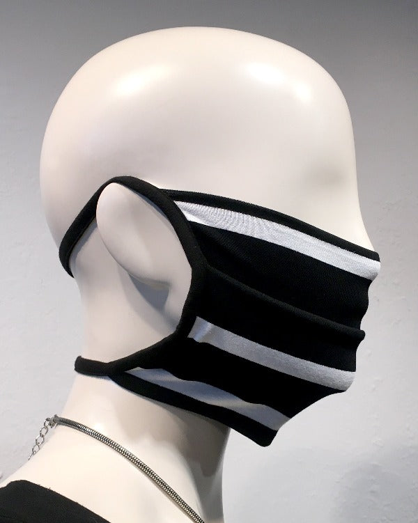 Reusable Mask - KNIT - B/W Stripe  (4-Pack)