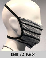 Reusable Mask - KNIT - Heather Grey/Black Stripe  (4-Pack)