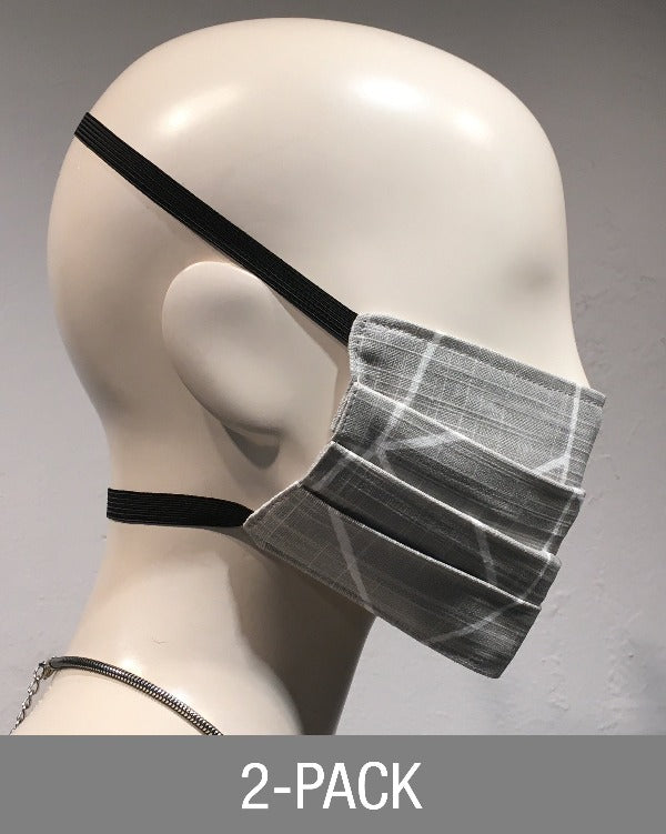 Reusable Mask - Light Grey LInes  (2-Pack)