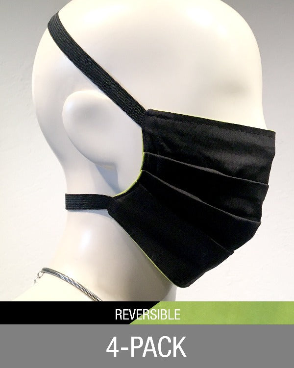 Reusable Mask - Reversible Black/Chartreuse (4-Pack) Limited Edition
