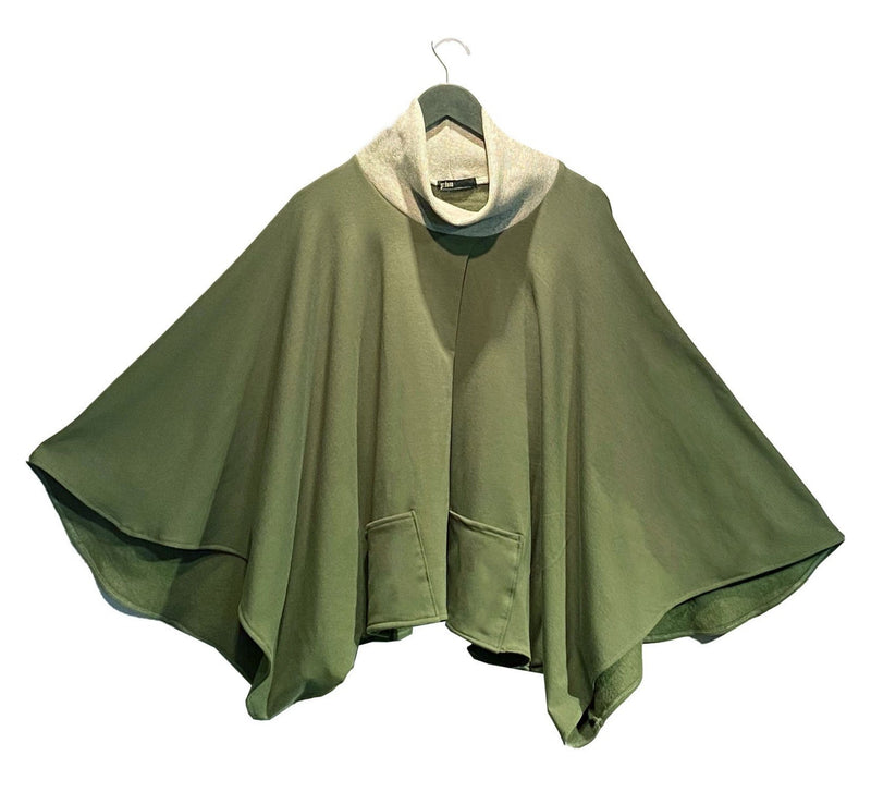 Olive Fleece-Backed Poncho