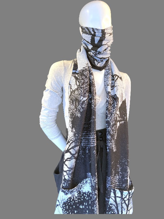 Forest Print Wrap Scarf Mask