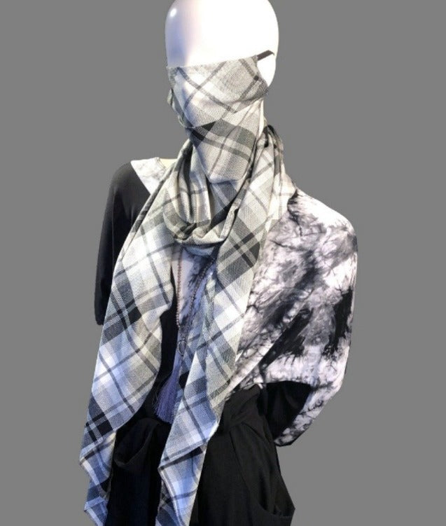 Plaid Wrap Scarf Mask