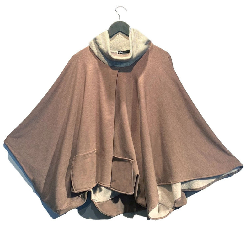 Rosewood Fleece-Backed Poncho