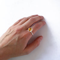 Organic Cast Silver and Gold Leaf Single Cup Ring