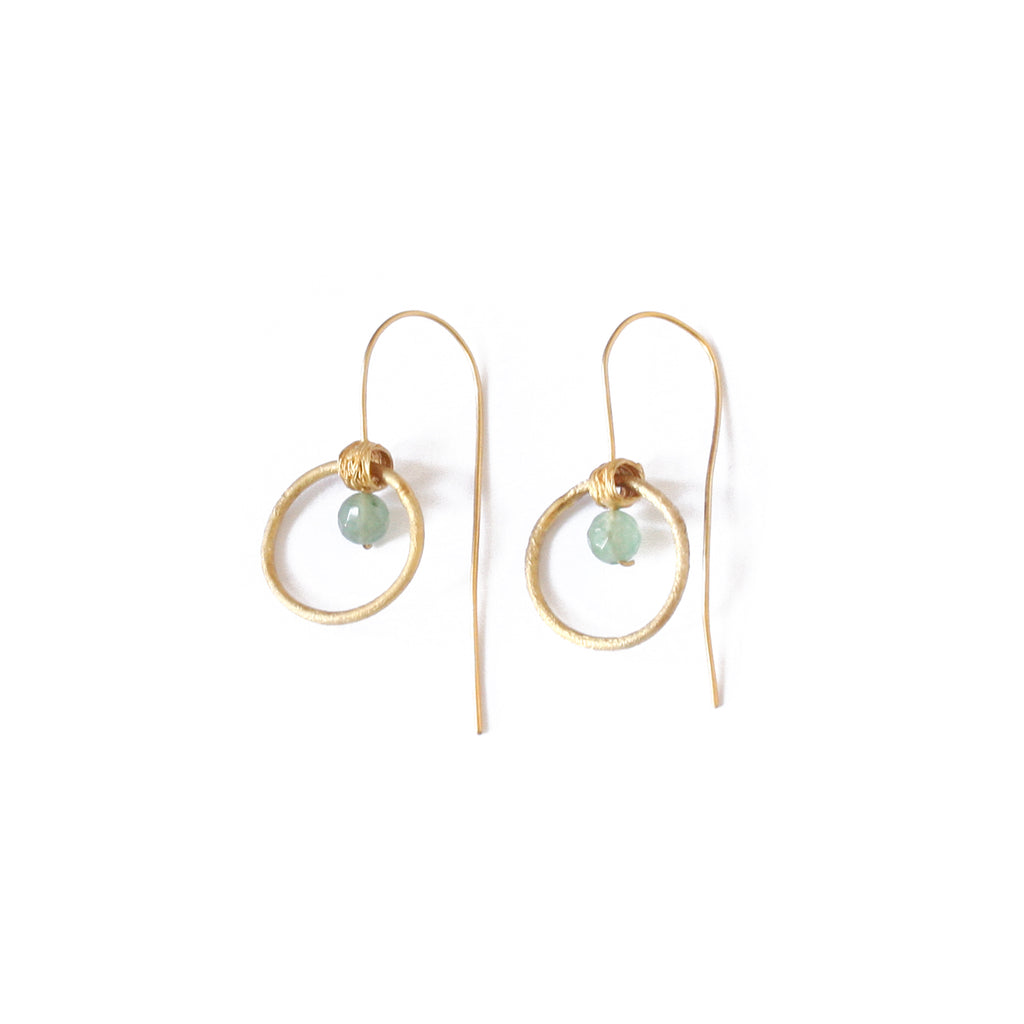 Gold Plated Hoop Earrings with Aventurine Stone