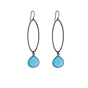 Oval Oxidised Earrings with Blue Chalcedony