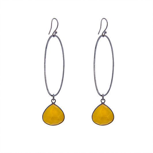 Oval Oxidised Earrings with Yellow Turquoise