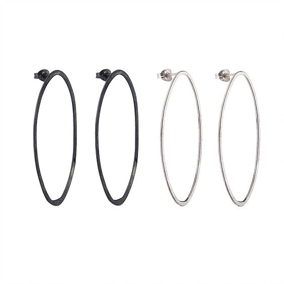 Large Black Oxidised Oval Hoop Studs