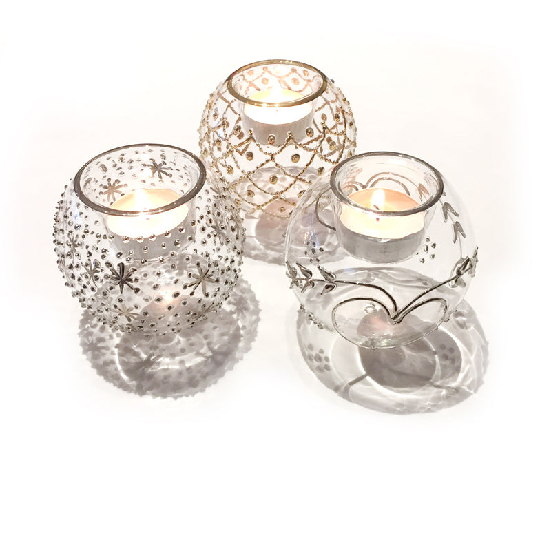 Silver 'Jubilee' hand-blown glass votive