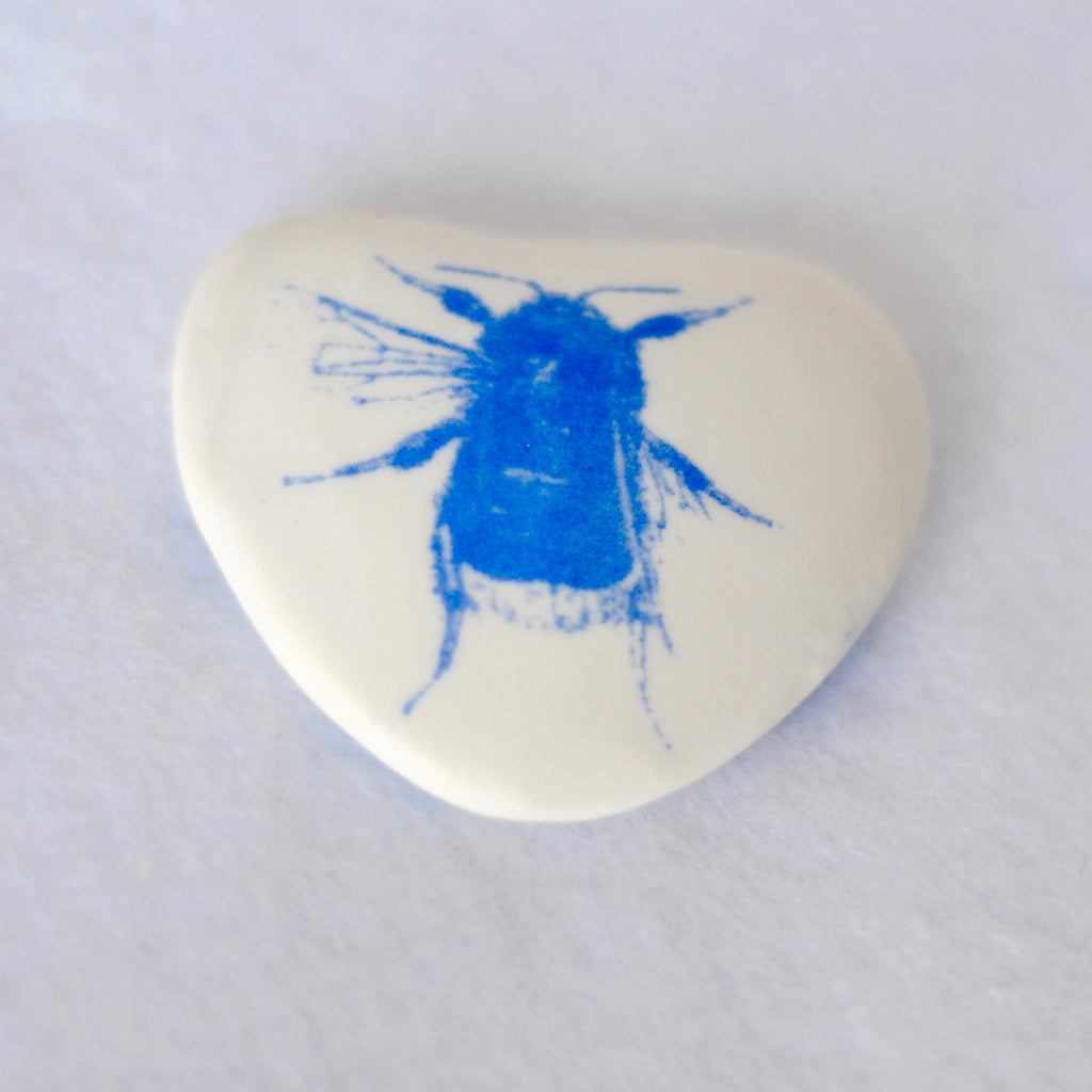 Heart shaped screen printed butterfly and Bee porcelain pebble