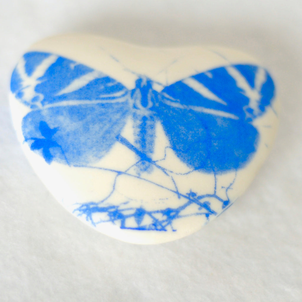 Heart shaped screen printed butterfly porcelain pebble