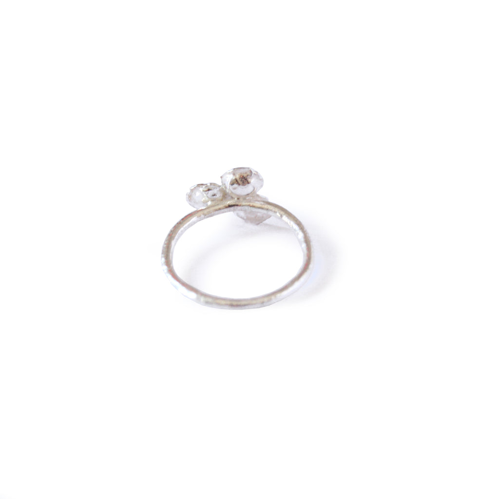 Organic Cast Silver and Gold Leaf Trio Cup Ring