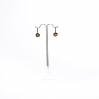 Oxidised Silver and Gold Leaf Cup Drop Earrings