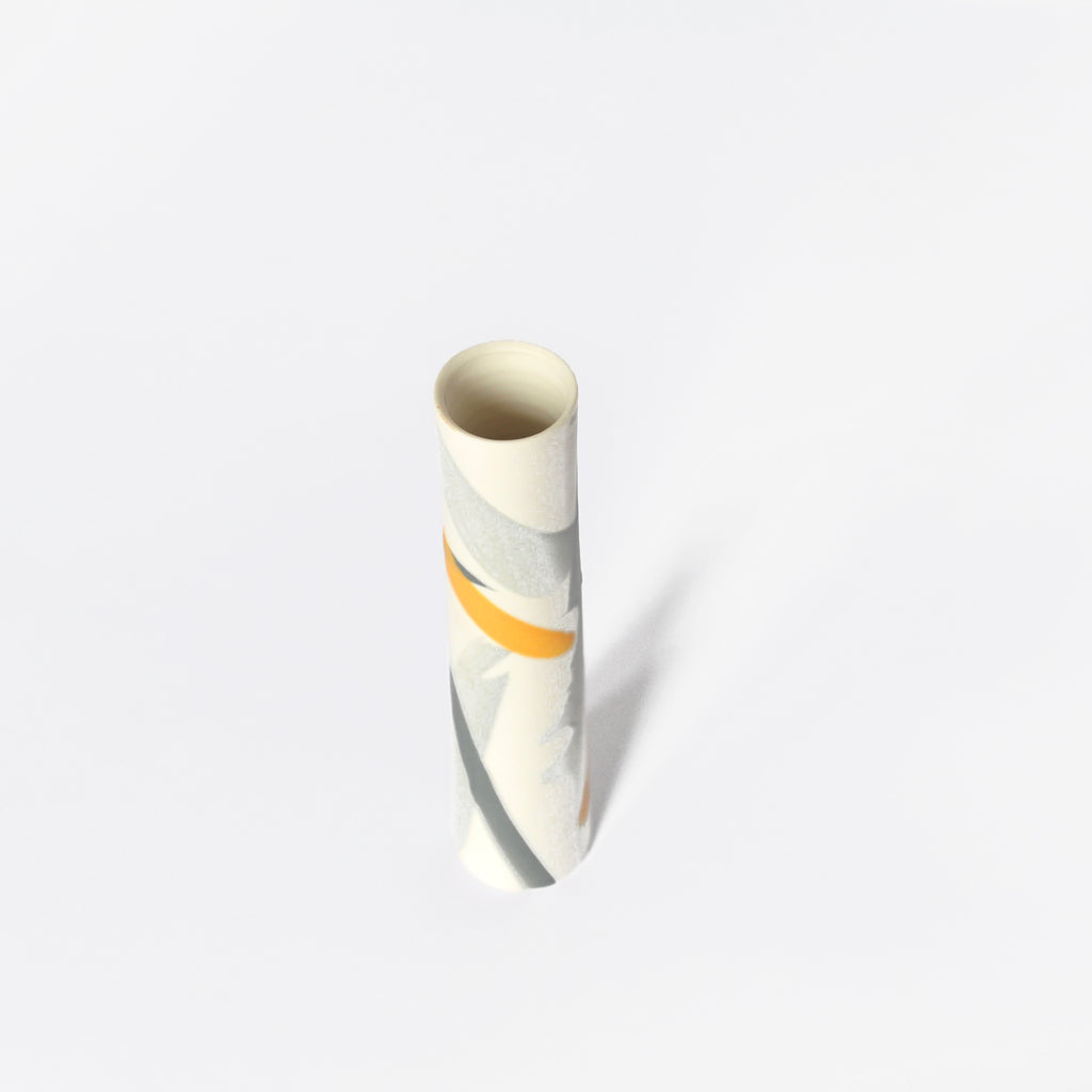 Yellow and Grey Splash Single Stem Porcelain Vase