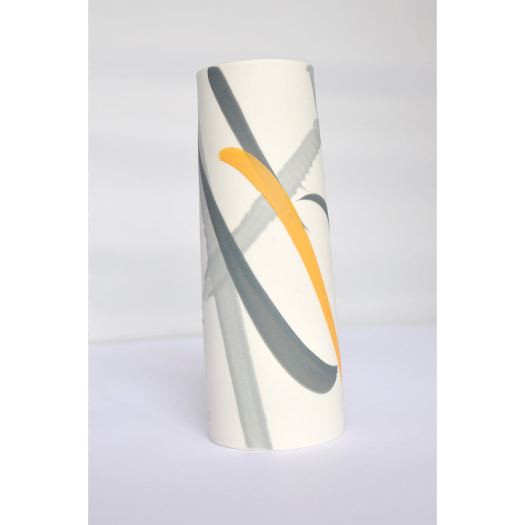 Porcelain Vase in Yellow and Grey Splash