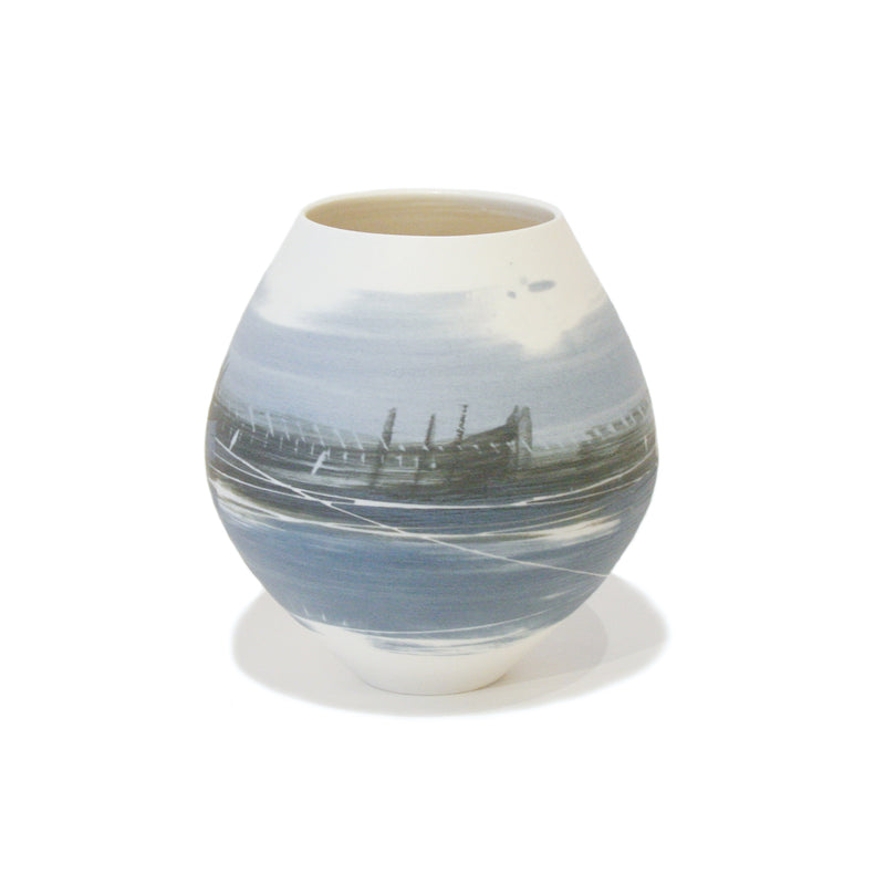Small Round Blue Landscape Pot