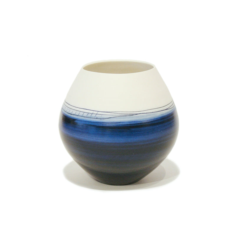 Small Round Indigo Pot