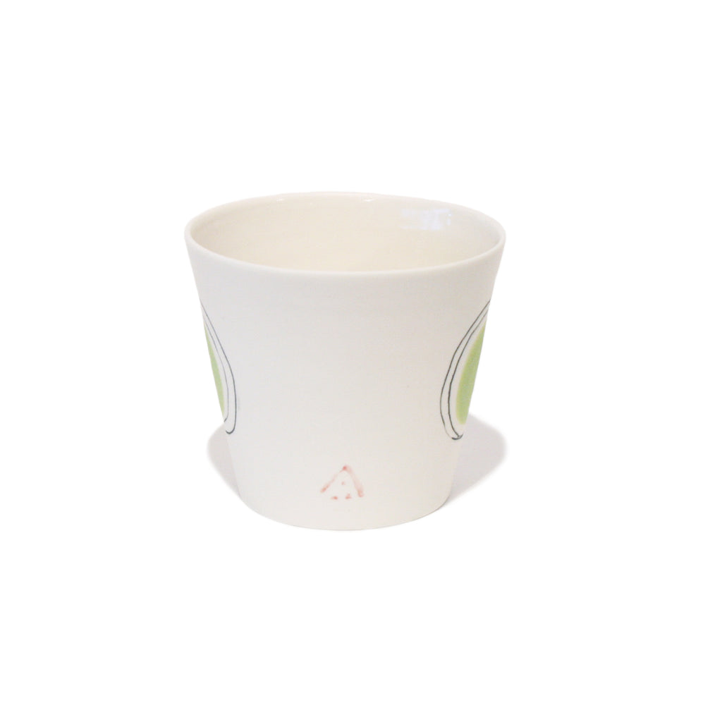 Green Dot Straight Side Porcelain Cup