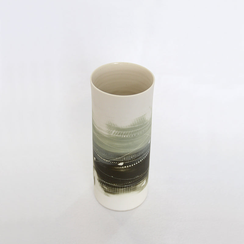 Two Tone Greens Medium Porcelain Cylinder Vase