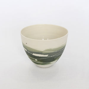 Two Tone Greens Porcelain Cup