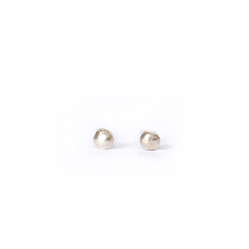 Tiny Silver Textured Dot Studs