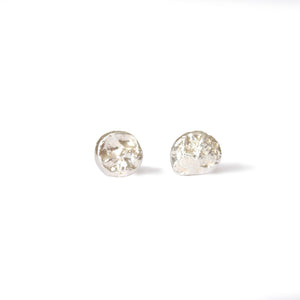 Medium Silver Textured Dot Studs