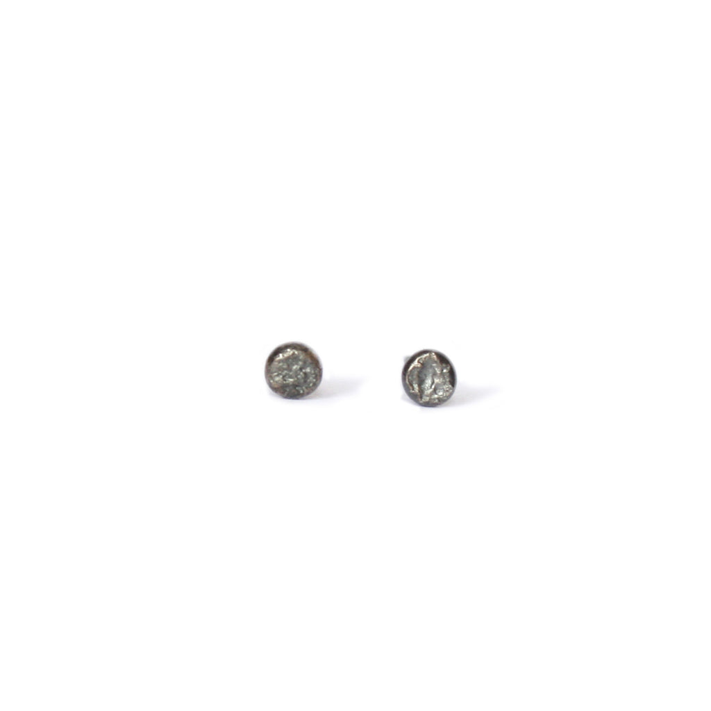 Small Oxidised Silver Textured Dot Studs