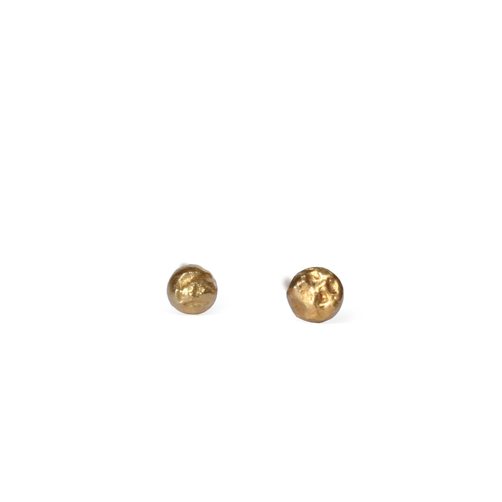 Tiny Gold Textured Dot Studs