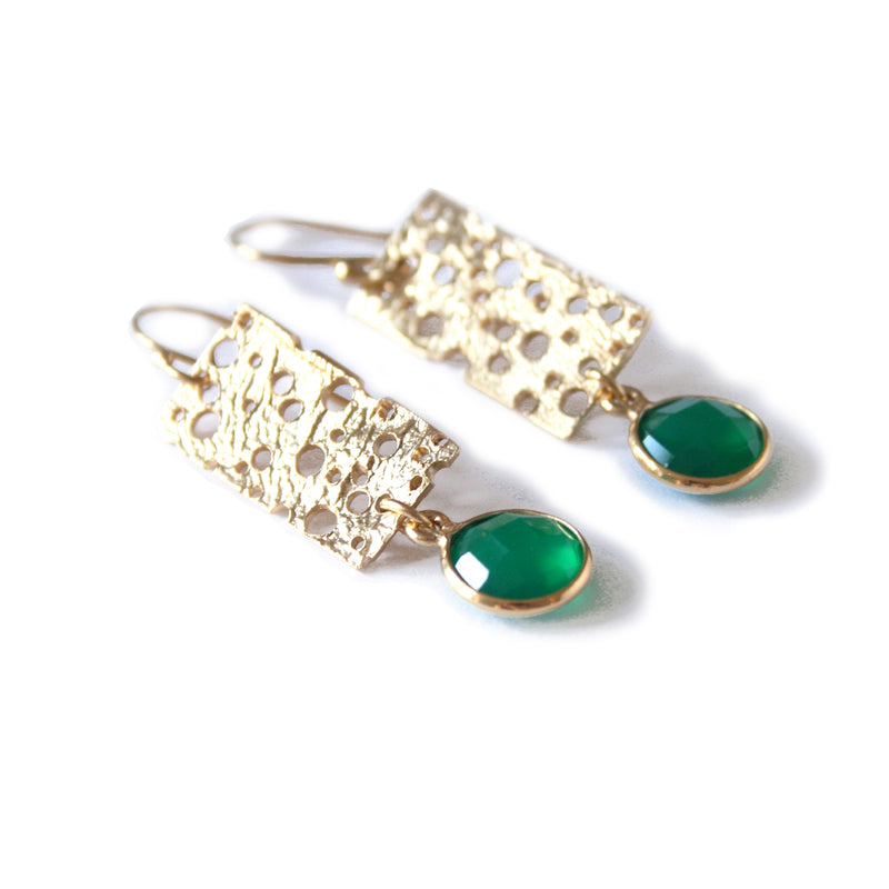 Small Gold Erosion Earrings with Green Chalcedony