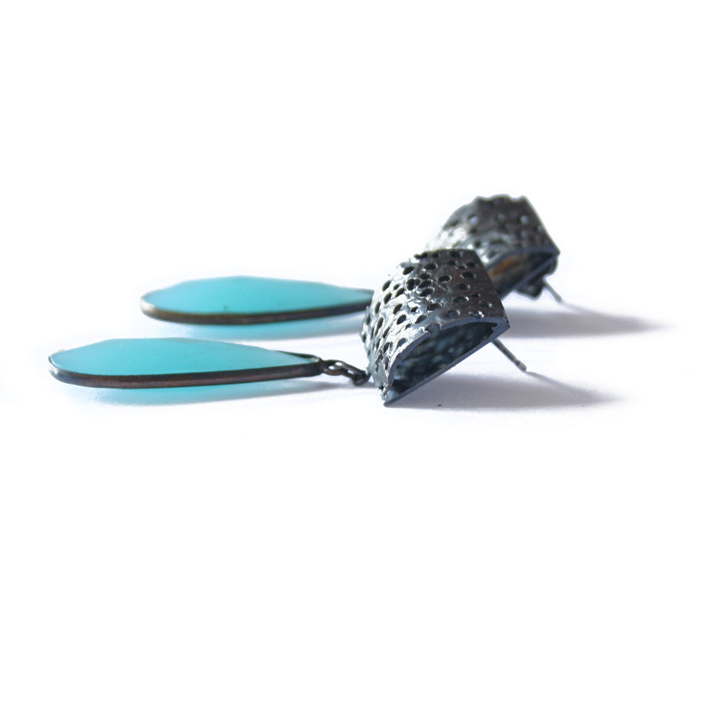 Oxidised Silver Erosion Studs with Blue Chalcedony Drop