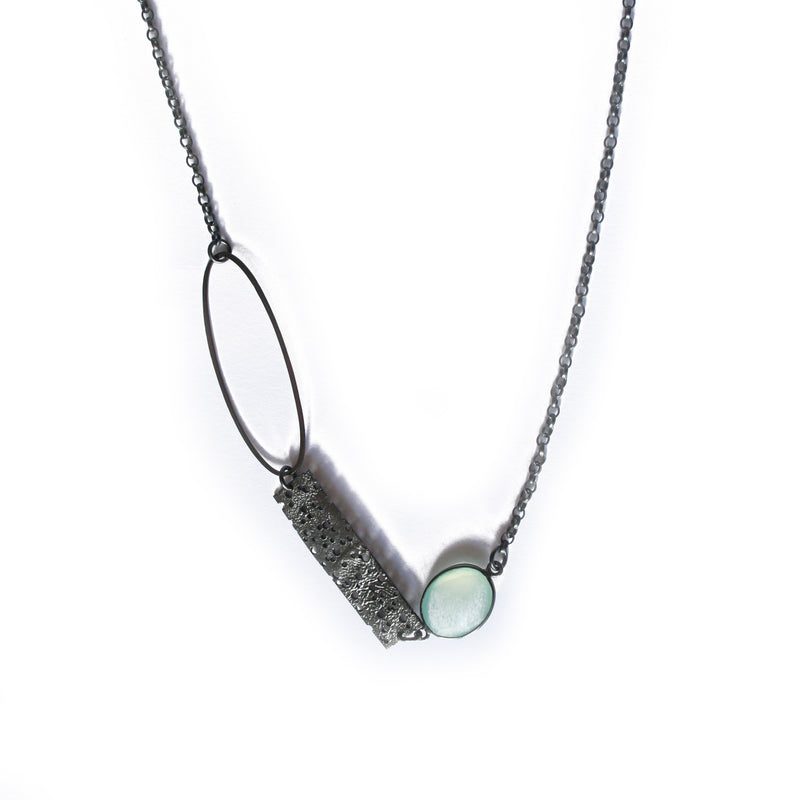 Oxidised Silver Erosion Segment Necklace
