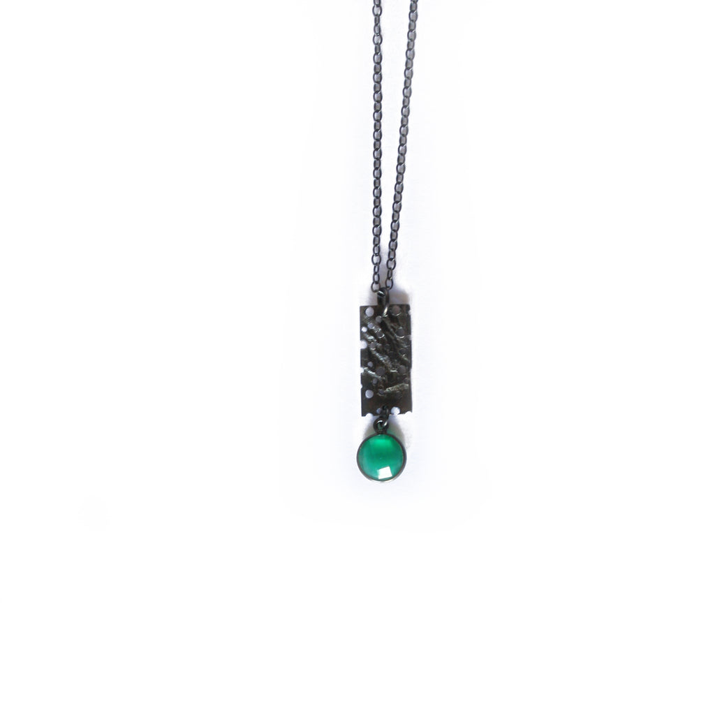 Oxidised Erosion with Green Chalcedony Pendant Necklace