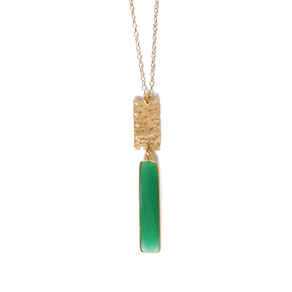Gold Erosion with Green Chalcedony Pendant Necklace