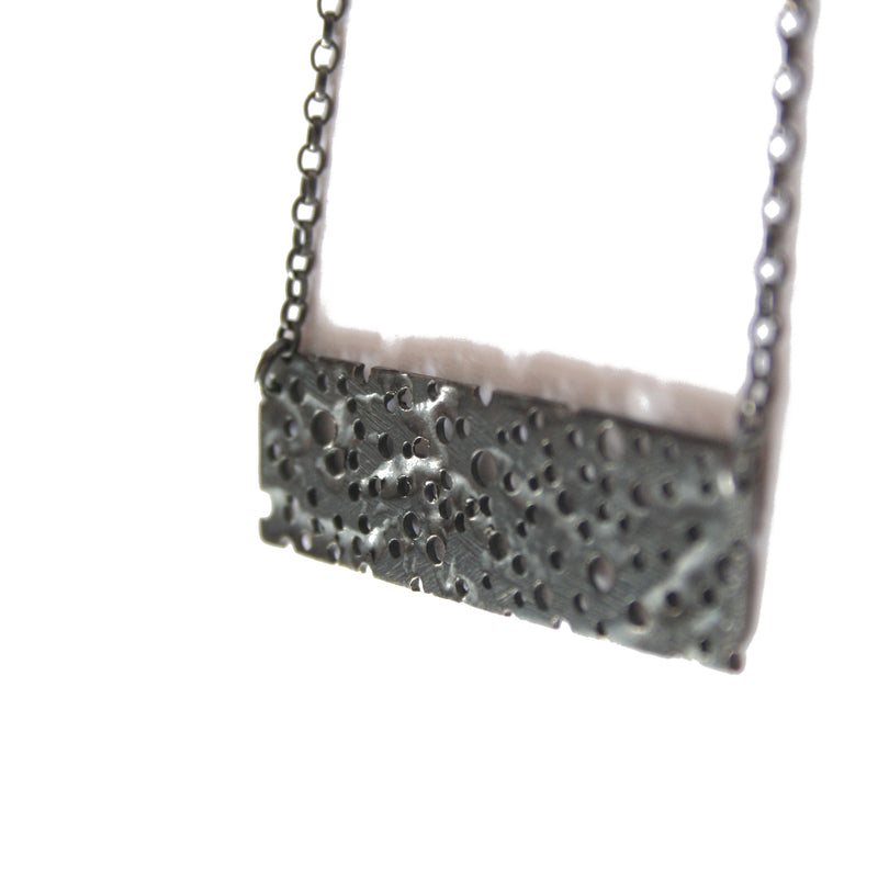 Oxidised Silver Erosion Rectangle Necklace