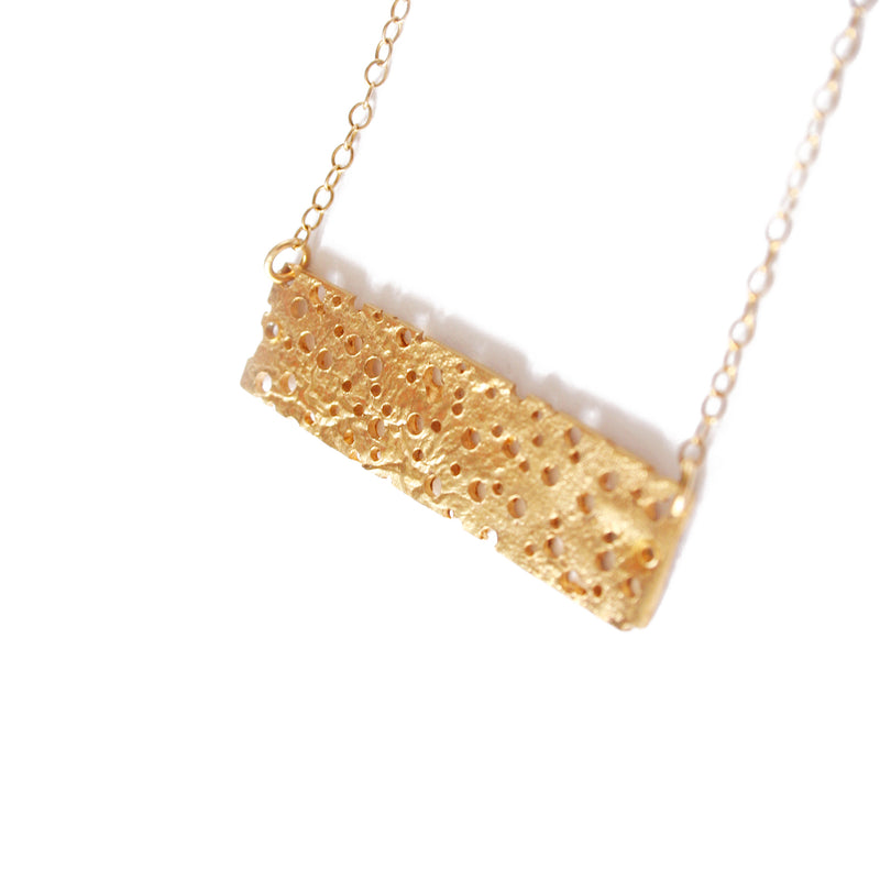 Gold Erosion Rectangle Necklace